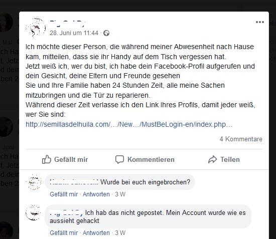 Phishing-Falle Facebook-Posting (Screenshot)