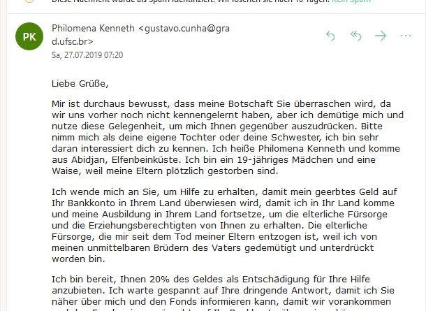 Tragischer Fall und dennoch Vorschussbetrug (Screenshot)