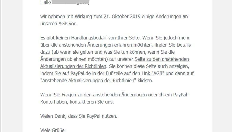 AGB-Änderung PayPal (Screenshot)