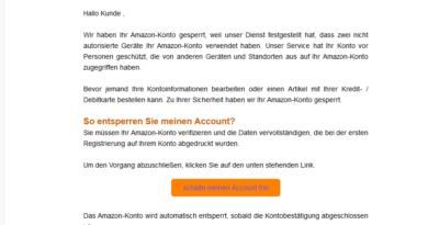 "Amazon-Phishing: ""Zwei nicht autorisierte Geräte"" (Screenshot)"