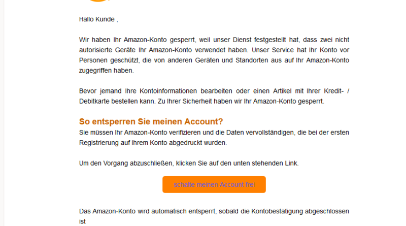 amazon phishing zwei nicht autorisierte ger te anti. Black Bedroom Furniture Sets. Home Design Ideas