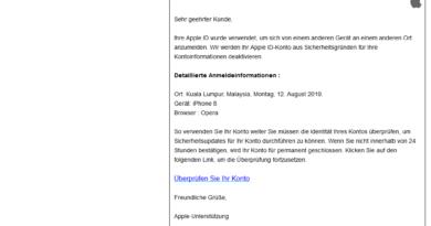 Login-Benachrichtigung = Apple-Phishing (Screenshot)
