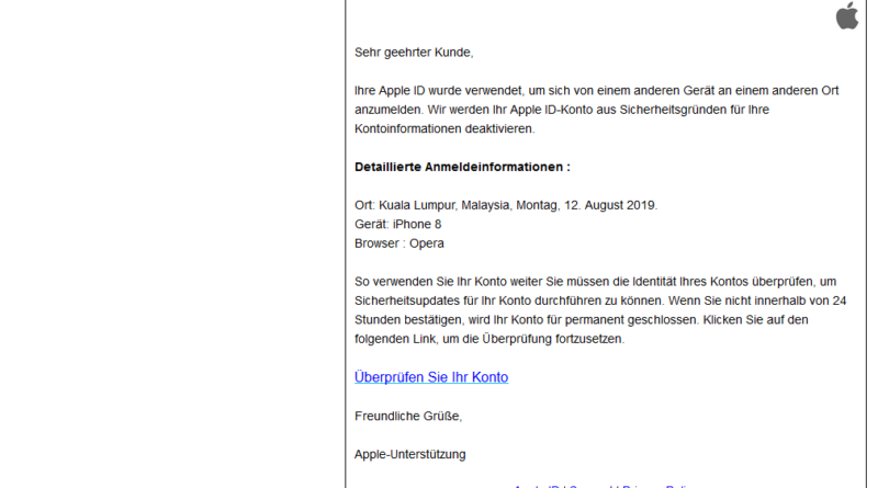Login-Benachrichtigung = Apple-Phishing (Screenshot)