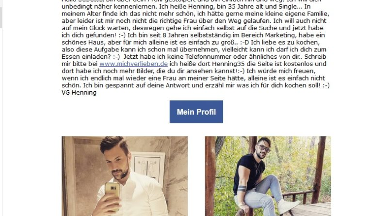 Dating-Spam von michverlieben.de (Screenshot)