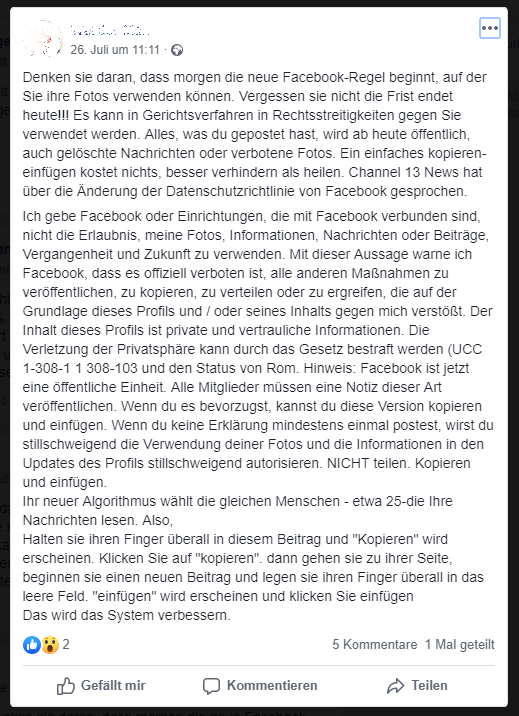 Die neue Facebook-Regel (Screenshot)