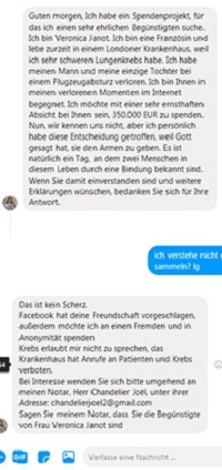Erb-Spende auf Facebook (Screenshot)