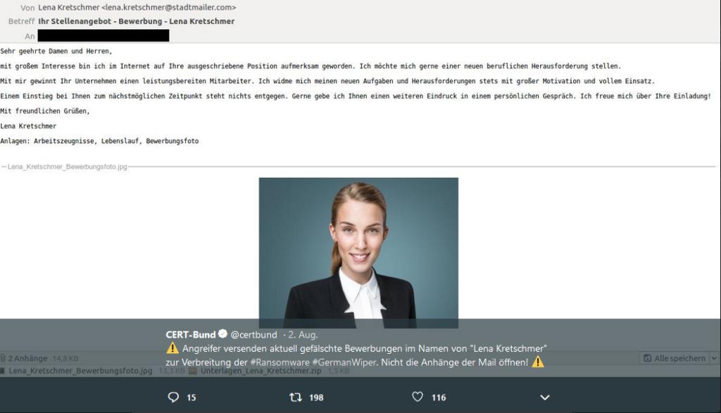 GermanWiper dank Fake-Bewerbung (@certbund/Twitter)