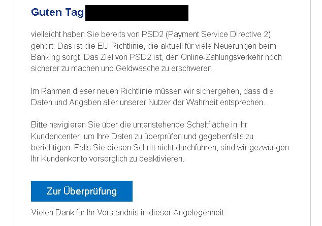 PayPal-Phishing (Screenshot: Verbraucherzentrale NRW)