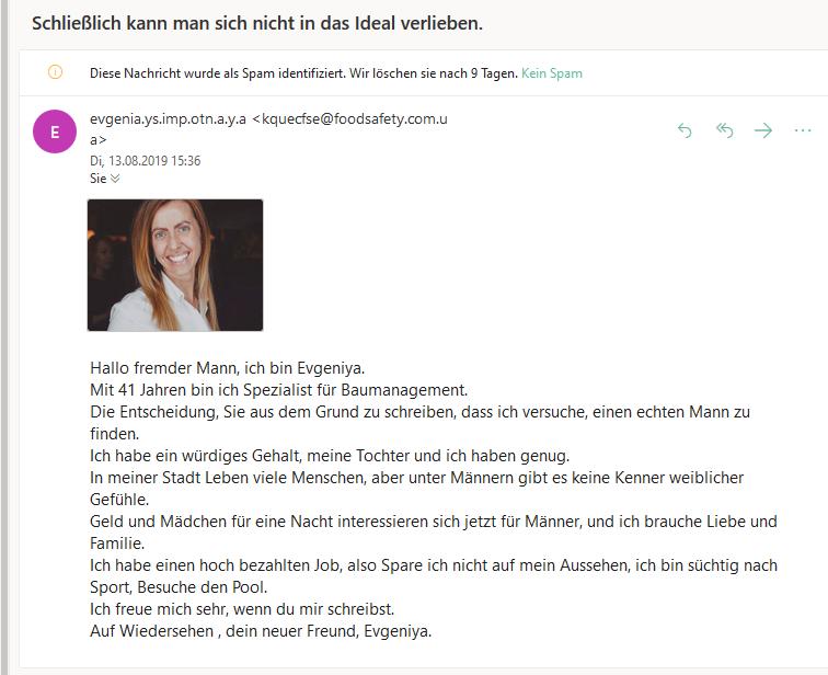 Romance Scam (Screenshot)