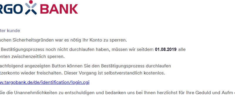 Targobank-Phishing (Screenshot: Verbraucherzentrale NRW)