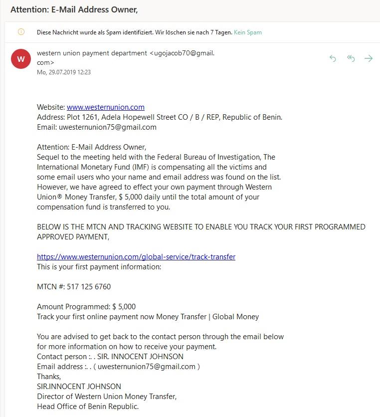 Western-Union-Entschädigung (Screenshot)