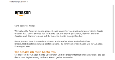 Amazon-Phishing: Problem mit Ihrem Konto (Screenshot)