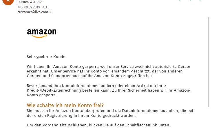 Amazon-Phishing: Problem mit Ihrem Konto (Screenshot)
