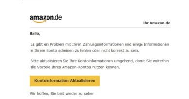 "Amazon-Phishing: ""Problem mit Ihren Zahlungsinformationen"" (Screenshot)"