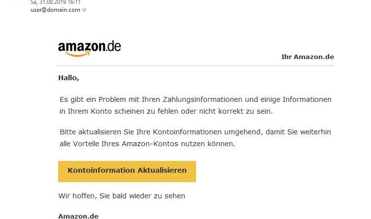 """Amazon-Phishing: """"Problem mit Ihren Zahlungsinformationen"""" (Screenshot)"""