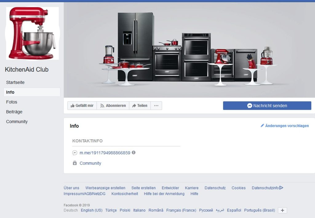 KitchenAid Club Infoseite (Screenshot)