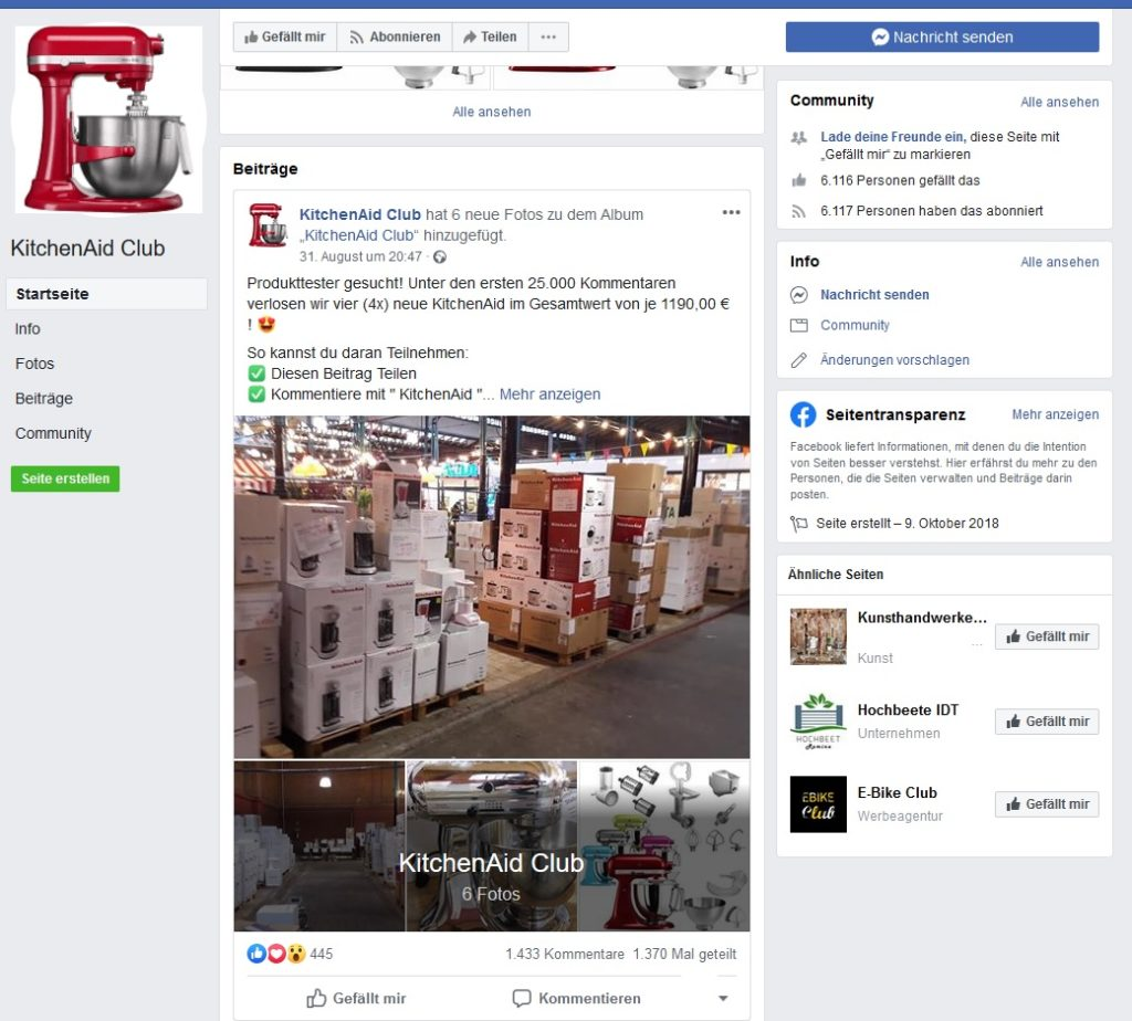 KitchenAid Club Produkttester - Fake! (Screenshot)