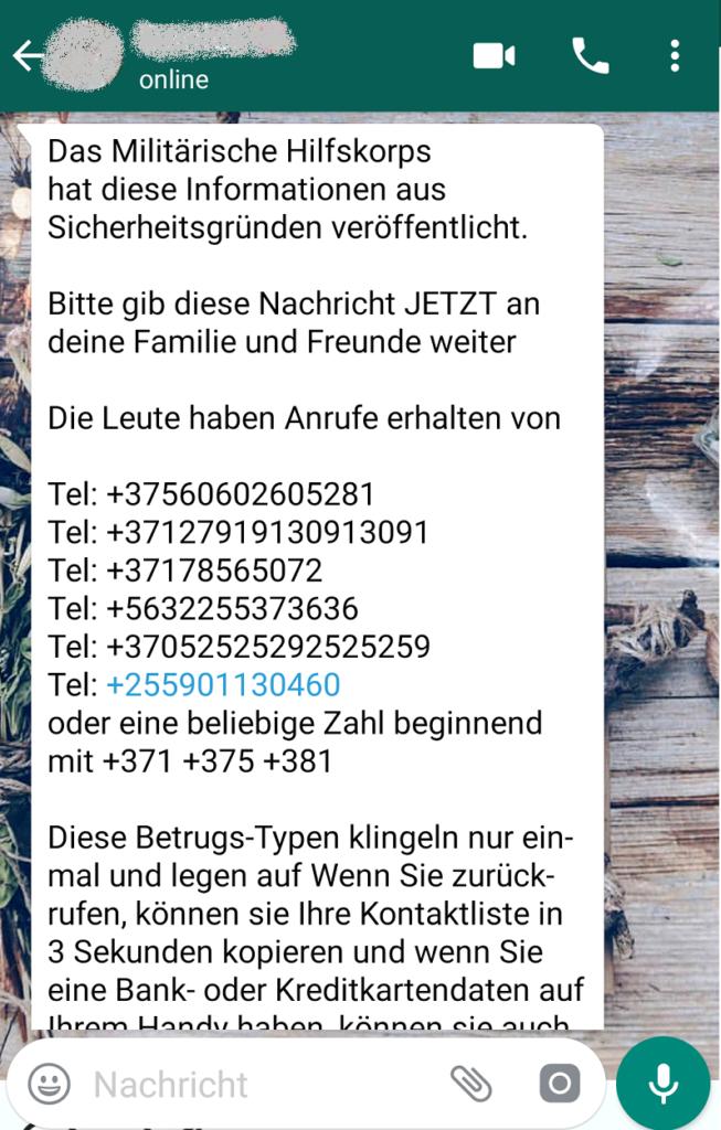 """WhatsApp-Hoax: """"Das """"Militärischen Hilfskorps"""" (Screenshot)"""
