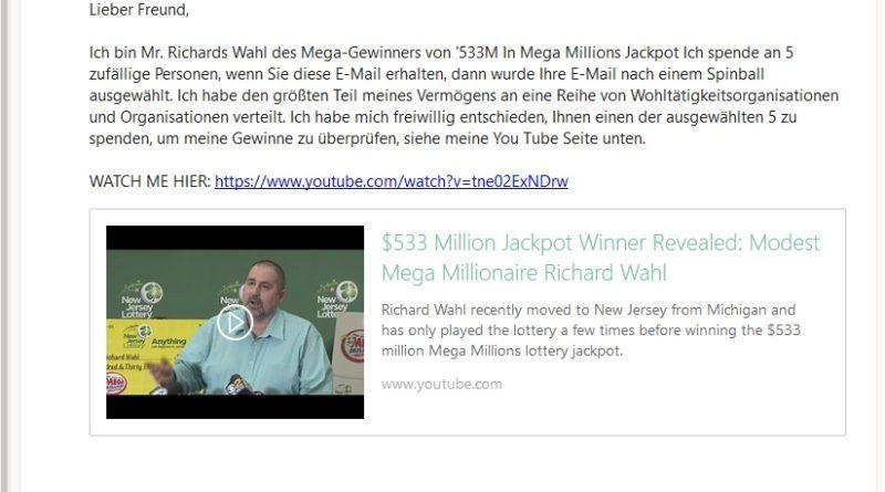 Vorschussbetrug mit YouTube-Video (Screenshot)
