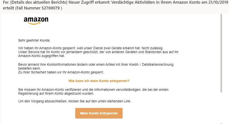 Amazon-Phishing - leicht geändert (Screenshot)