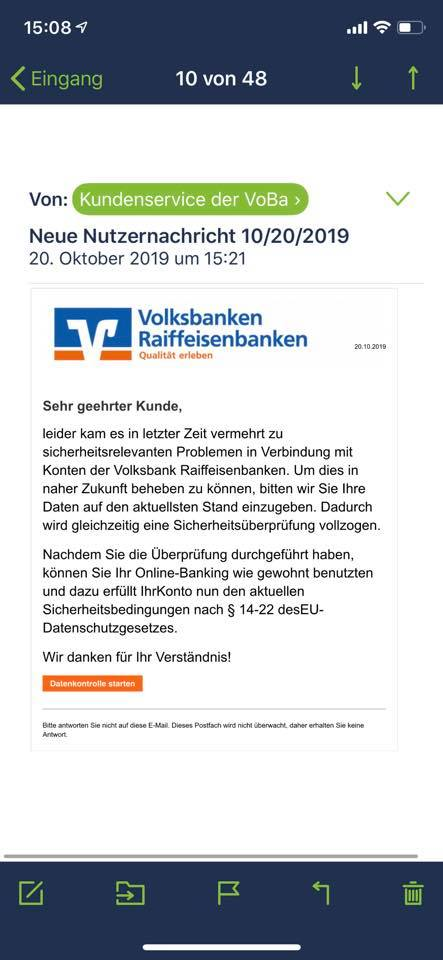 Volksbanken-Raiffeisenbanken-Phishing (Screenshot)