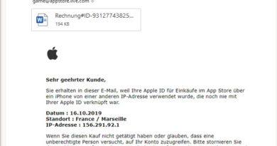 Apple-Phishing (Screenshot)