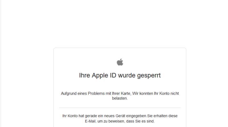Apple-Phishing: Ihre Apple ID wurde gesperrt (Screenshot)