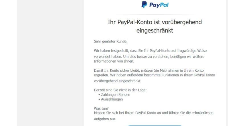 "PayPal-Phishing: ""Konto auf fragwürdige Weise verwendet"" (Screenshot)"