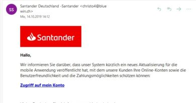 "Santander-Phishing: ""Aktualisierung für die mobile Anwendung"" (Screenshot)"