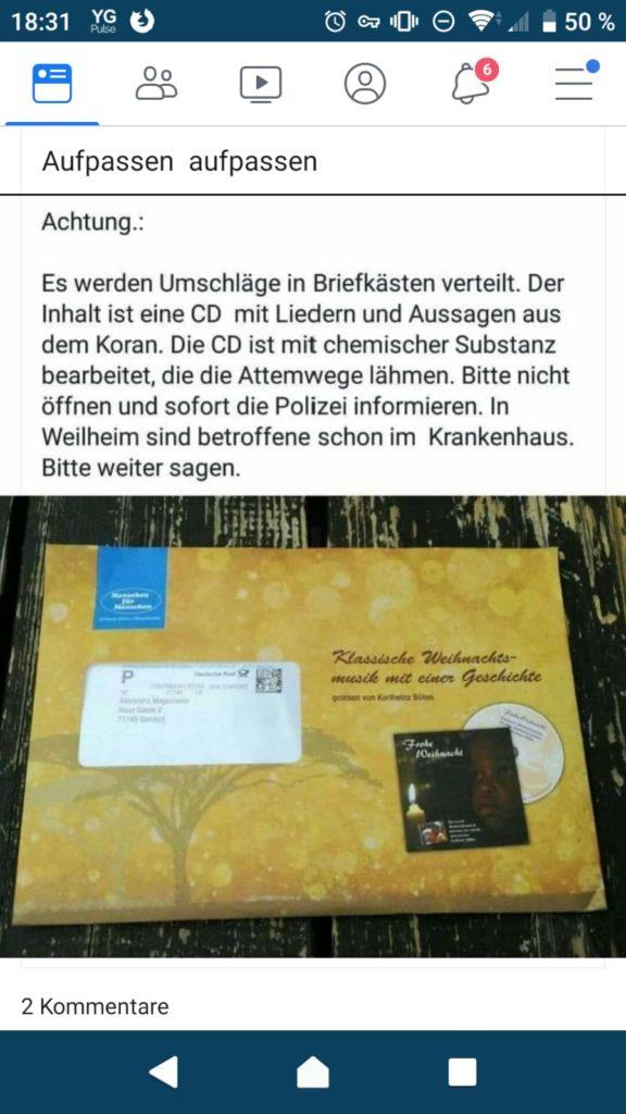 Koran-CD mit chemischer Substanz (Screenshot)