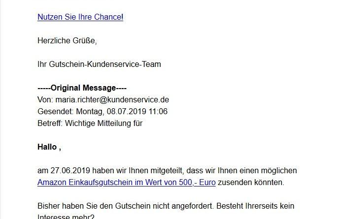 Amazon-Gutschein-Gewinnspiel: von wegen! (Screenshot)