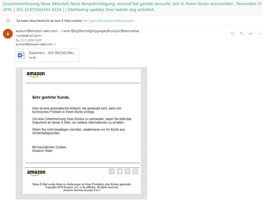 """Technisches Problem"" ist Amazon-Phishing (Screenshot)"
