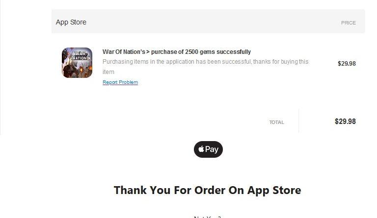 Fake-App-Store-Bestellung (Screenshot)