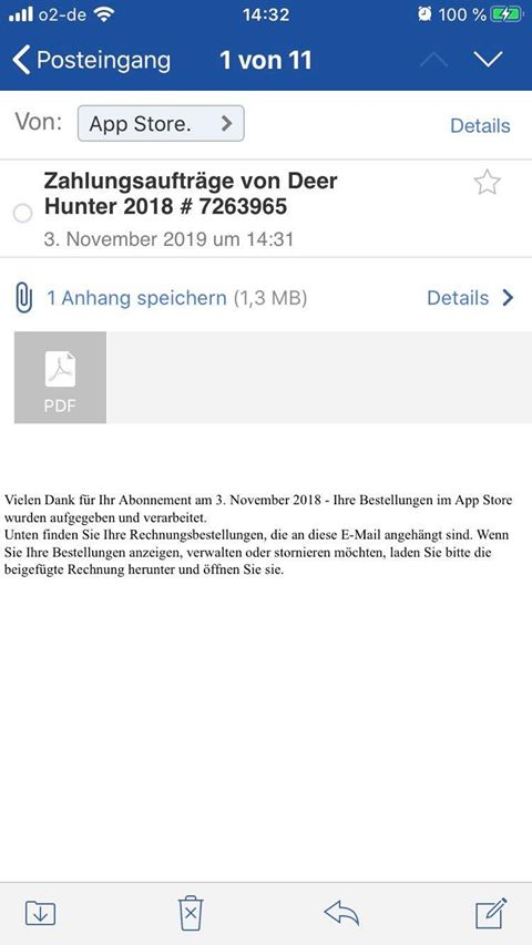 App Store-Bestellung von Deer Hunter (Screenshot)