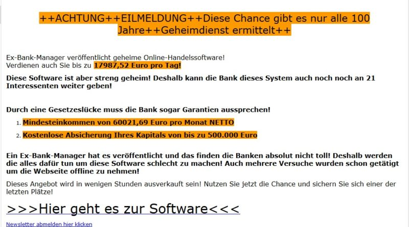 Vorsicht: Bitcoin-Betrug (Screenshot)