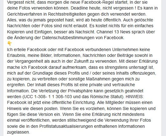 Facebook-Hoax: morgen neue Facebook-Regel (Screenshot)