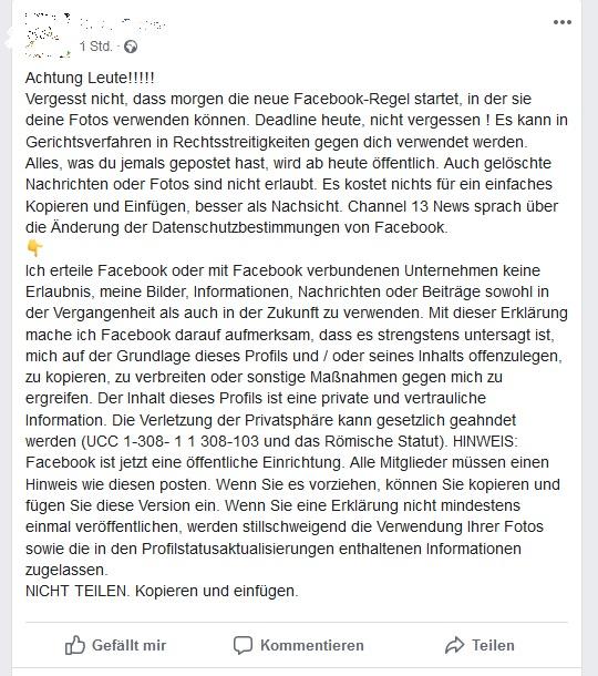 Facebook-Hoax: morgen neue Facebook-Regel (Screenshot)