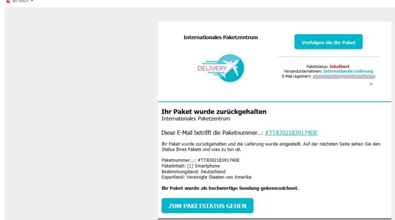 Achtung, falsche Paketankündigung (Screenshot)