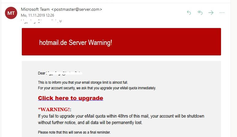 Hotmail-Phishing: Server Warning! (Screenshot)
