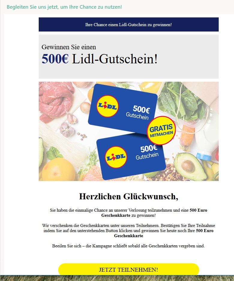 Lidl-Gutschein gewinnen? Eher nicht! (Screenshot)