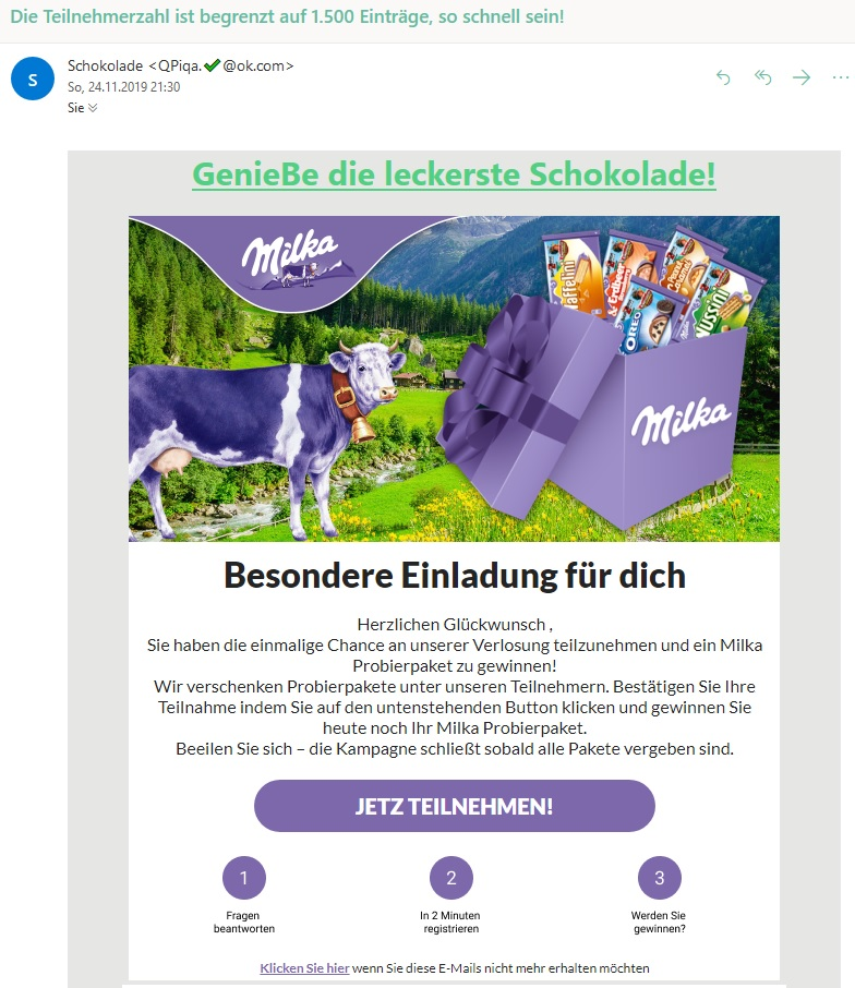 Milka-Probierpaket (Screenshot)