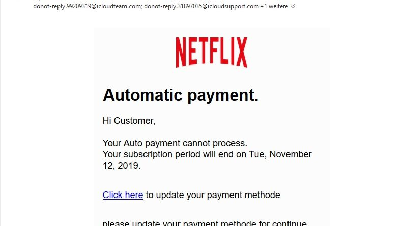Netflix-Phishing: Automatic payment. (Screenshot)