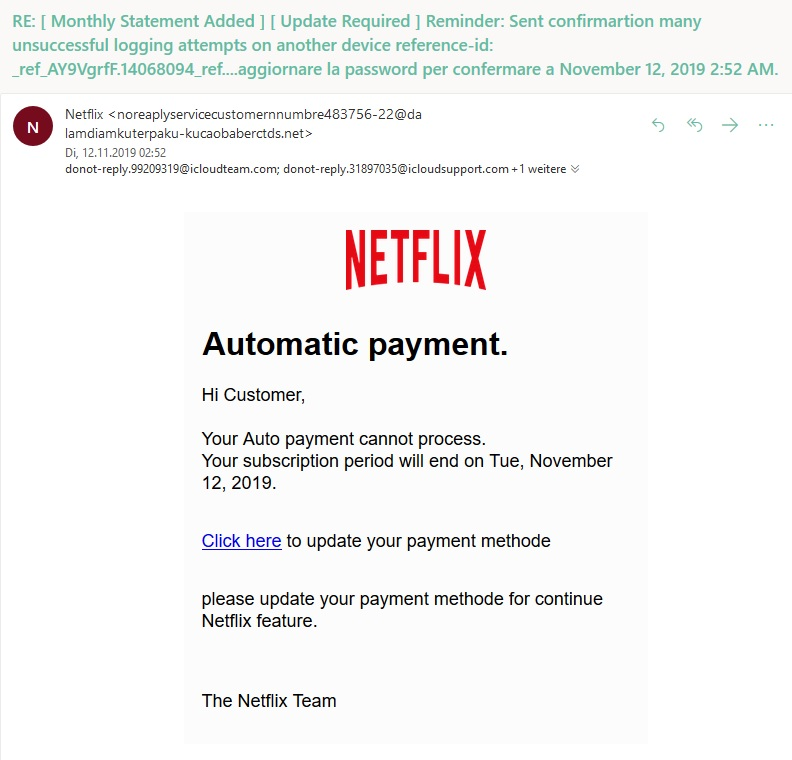 Netflix-Phishing: Automatic payment. (Screenshot)