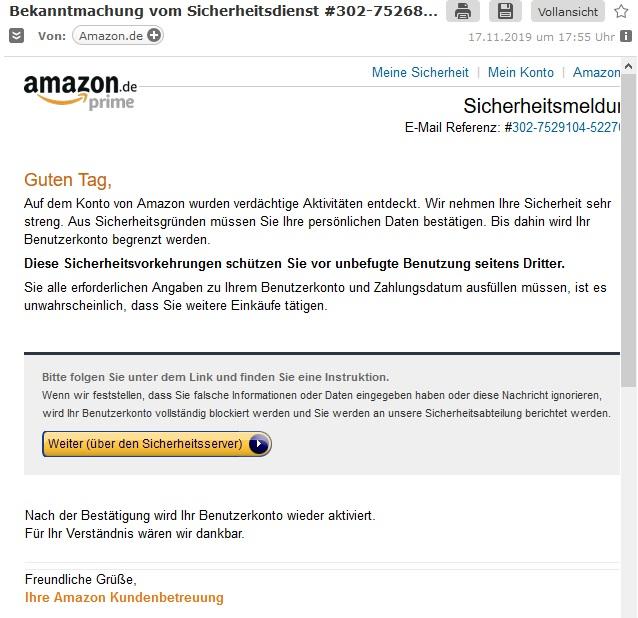 Verdächtige Aktivitäten: Amazon-Phishing (Screenshot)