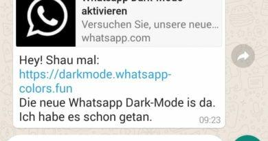 WhatsApp Dark-Mode - Vorsicht! (Screenshot)