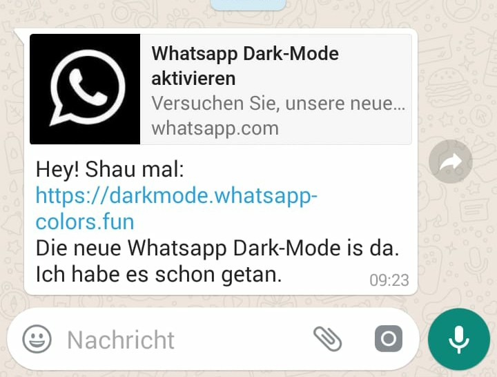 WhatsApp Dark-Mode - Vorsicht! (Screenshot)