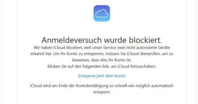 iCloud-Phishing: Anmeldeversuch blockiert (Screenshot)
