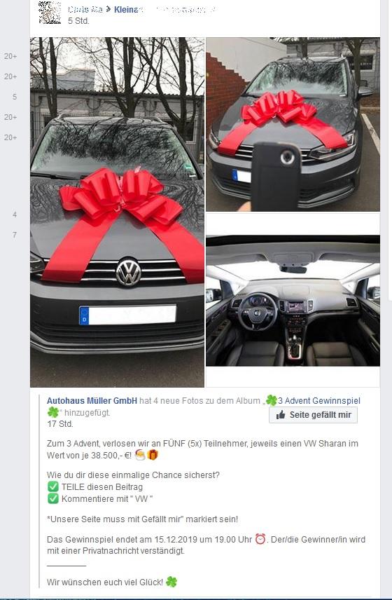Autohaus Müller Gewinnspiel (Screenshot)