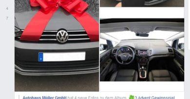 Autohaus Müller Gewinnspiel: Achtung, Fake! (Screenshot)