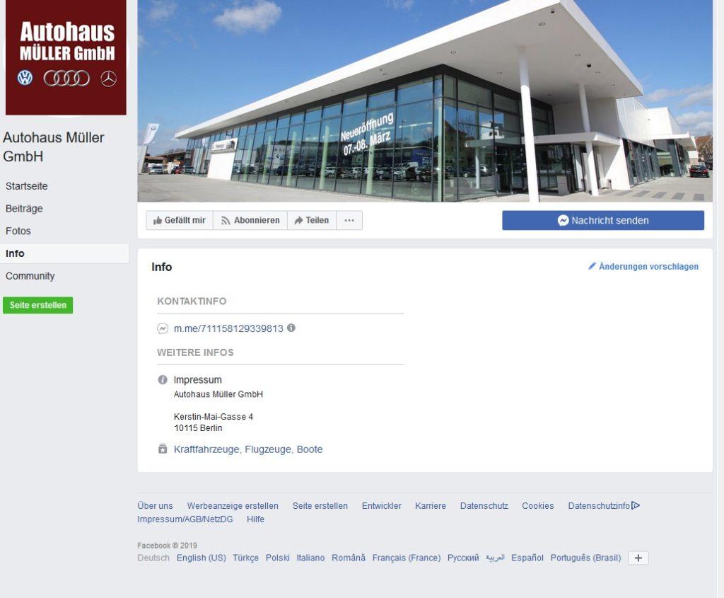 Autohaus Müller Gewinnspiel Infoseite (Screenshot)